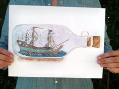 """Ship in a Bottle"" Art Print"