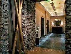 Urban Condominium, Elevator Lobby, Lobby Interior Design, Bamboo Decor, Stone Walls