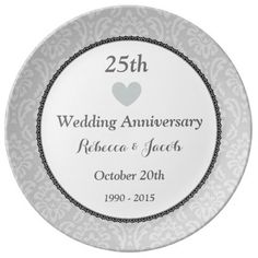 """25th Wedding Anniversary Silver Damask W25E Porcelain Plate - 25th Wedding Anniversary Silver Damask with Heart W25E.10.75"""" Large. Design your own porcelain anniversary plate. All text is customizable, so you can change the anniverary year if you need to. Personalize with the couple's name, monogram, or sentiment, or add a photo. You can delete the existing image and/or text fields and upload your own original artwork, change the background color for a different effect and add your own text…"""