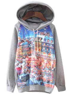 Grey Hooded Long Sleeve Christmas Eve Print Sweatshirt GBP£21.62