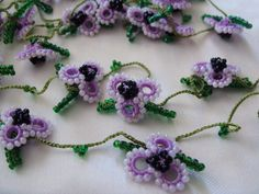 Gorgeous Hand Crocheted Turkish Oya by colourfulrose on Etsy Seed Bead Necklace, Seed Beads, Beaded Necklace, Crochet Flower Tutorial, Crochet Flowers, Bead Crochet, Crochet Earrings, Fiber Art, Embellishments
