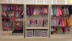 Barbie clothes storage made from shelves, can work for other similar size dolls like Disney, Monster High, etc....