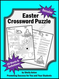 Easter Crossword Puzzle Secular Vocabulary Word List from Promoting Success on TeachersNotebook.com -  (5 pages)  - Easter: Easter vocabulary will be a breeze with the fun crossword puzzle. The clues are on a separate page along with an optional word bank for easy differentiation. An answer key is provided for your convenience.