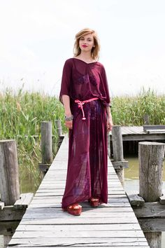 Tunika 'cover me up' C18-021 bodenlang, Chiffon, weinrot, handbedruckt Couture, Chiffon, Cover, Dresses, Fashion, Del Mar, Curve Maxi Dresses, Tunic, Red