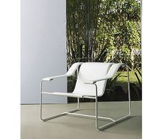 Made in Brazil by Modloft. Shaped leather lounge seating upon a modern steel frame. The Frederick Lounge Chair features a stainless steel frame with leather seat and arms. Available in a variety of leather and frame finish options.