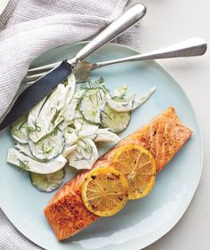 Salmon With Creamy Cucumber-Fennel Salad | Need some quick dinner ideas? Try one of these speedy recipes that take just 15 minutes or less of hands-on work.