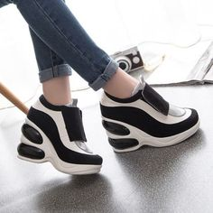 Womens-High-Platform-Wedge-Heel-Slip-On-Velcro-Athletic-Fashion-Sneakers-Shoes