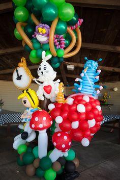 Alice in Wonderland Balloon sculpture installation for baby shower by Lea Beck #aliceinwonderland, #balloonmanonline, #babyshower, #balloons