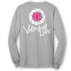 Volleyball Life™ Script Custom Monogram Long Sleeve T-Shirt