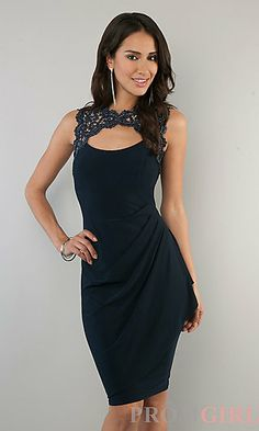 Knee Length Black Dress with Lace at PromGirl.com