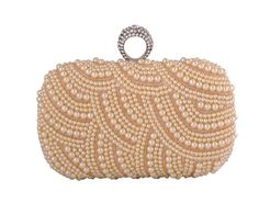 1313 white pearl rhinestone evening clutch bag ring bag---USD36