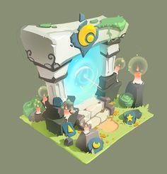 ArtStation - Elemental Blade - Dimensions of the door, Dong-hwan Ji Game Environment, Environment Concept Art, Environment Design, 2d Game Art, Video Game Art, Bg Design, Game Design, Isometric Art, 3d Fantasy
