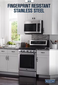 This Maytag kitchen sees its share of sticky fingers and smear makers. Thanks to new easy-to-clean Fingerprint Resistant Stainless Steel, you'd never know.