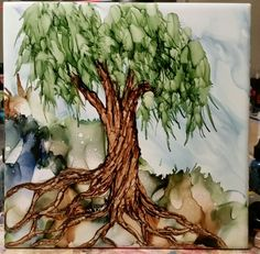 Tree in alcohol ink on 6x6 tile by Tina