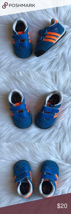 Infant Adidas sneakers Infant Adidas sneakers, gently used. These are infant size 3, so our baby was not walking when she wore these. Blue & orange but really a unisex style. adidas Shoes Sneakers