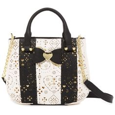 Betsey Johnson Laser Cut Half Moon Top Handle (59 AUD) ❤ liked on Polyvore featuring bags, handbags, black, betsey johnson purses, betsey johnson handbags, top handle satchel, satchel handbags and zipper handbag