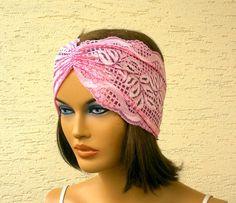 Lace headband strech headband turban headband by KnitterPrincess