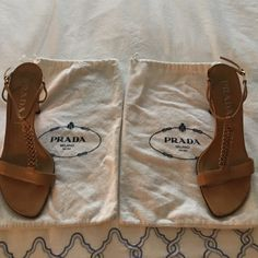 """Prada Chain Sandals REDUCED These unique,  authentic Prada strappy sandals are amazing! They are a rare find. Yes they have been worn. The soles have been redone for comfort. There are small marks on the heel. Heel is 4"""". Prada Shoes Sandals"""