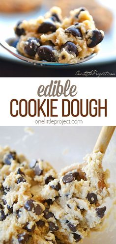 Make this recipe for edible, safe-to-eat cookie dough the next time you are craving some soft, gooey, cookie dough, but you don't want to risk eating raw eggs.  It goes together in minutes, keeps in the fridge or freezer for ages and makes a delicious treat!  Just remember not to bake it, because while the uncooked recipe is delicious, it's lacking some important baking ingredients.  Enjoy! Cookie Dough For One, Edible Cookie Dough, Cookie Dough Recipes, Yummy Treats, Yummy Food, Gooey Cookies, Eating Raw, Vegetarian Chocolate, Yummy Appetizers