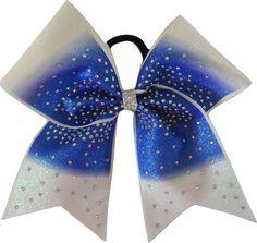 Glimmer Rhinestone Royal Blue Ombre Cheer Bow-