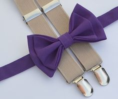 Boys Easter Outfit -- Eggplant Purple Bow Tie & Beige Suspenders. Shop more styles www.armoniia.etsy.com