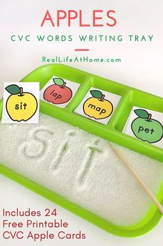 Encourage early reading and writing with this sand tray writing activity. Download a free set of 24 CVC cards for kids with an apple theme. Fun language arts and phonics preschool and kindergarten activity! Kindergarten Art Activities, Apple Activities, Preschool Writing, Writing Activities, Speech Activities, Preschool Ideas, Teaching Child To Read, Phonics Rules, Math Task Cards