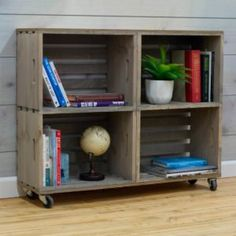 Crates & Pallet 18 in. Large Crate in Weathered – The Home Depot - Kallax Bett Crate Bookcase, Built In Bookcase, Bookshelf Ideas, Pallet Bookshelves, Wooden Crate Shelves, Wood Crate Diy, Bookcase Plans, Wooden Cart, Floating Bookshelves