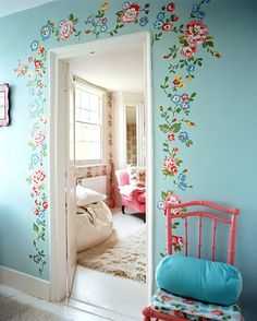 Paint a Border Around an Entryway       Paint a border around an entryway. Using stencils, paint pens, or just your favorite paint color, you can upgrade any doorframe. It's a great way to add a feminine, floral touch to your interiors.