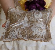 Ring bearer pillow burlap and lace by Littlewhiteboutique on Etsy, $18.00