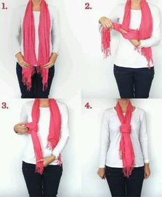 """Great idea of how to tie a """"non-infinity"""" scarf!"""