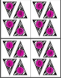 Printable Zebra Banner Letters Bunting door SweetLifePrintables