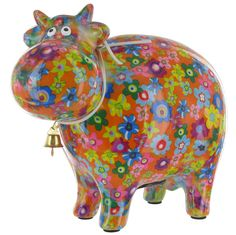 Pomme Pidou Bella The Cow Animal Money Bank - Orange Flowers