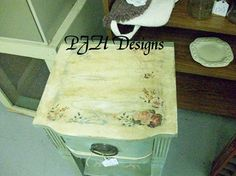 Duck egg blue decoupaged & distressed side table double click for details on diy