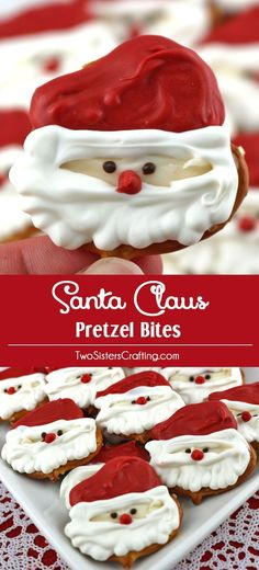Santa Claus Pretzel Bites - you'll only need pretzels and candy melts to make these adorable sweet and salty Santa Claus Christmas treats.  We have step by step instructions on how to make this festive Christmas Dessert for your family this Christmas.  Pin this easy Holiday Candy for later and follow us for more great Christmas Food Ideas.
