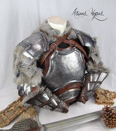 Heavy norse steel and leather armor NO UE. Viking Armor, Larp Armor, Knight Armor, Medieval Armor, Medieval Fantasy, Medieval Gown, Viking Dress, Armor Clothing, Medieval Clothing
