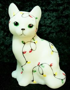 "Fenton Opal Glass ""Holiday Lights"" Cat OOAK - CC Hardman"