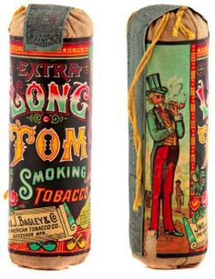 Scarce, early paper label cloth tobacco pouch for Bagley & Co.'s Long Tom brand tobacco in beautiful multi-color label. Sold at: Wm Morford Antiques Looking to Buy or Sell? Vintage Cigarette Ads, Cigarette Brands, Vintage Tins, Vintage Antiques, Old Advertisements, Advertising, Tom Brands, Wooden Cigar Boxes, Tobacco Smoking
