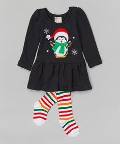 Another great find on #zulily! Black Penguin Top & Red Stripe Tights - Infant & Toddler #zulilyfinds