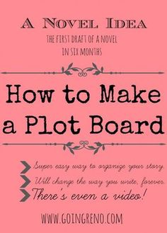 A Novel Idea: How to Make a Plot Board--it's super simple, it will keep your story organized, and I even made a video! To read later Book Writing Tips, Writing Quotes, Writing Process, Fiction Writing, Writing Resources, Writing Help, Writing Skills, Writing A Novel, Writing Boards