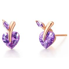 Find More Stud Earrings Information about Small Stud Earrings Hot Sale Women Rose Gold Plated Purple and White Rhinestone Apple Shape Promotion Brincos Menina Ulove R698,High Quality earring stud,China earring stopper Suppliers, Cheap earrings brand from Ulovestore Jewelry on Aliexpress.com