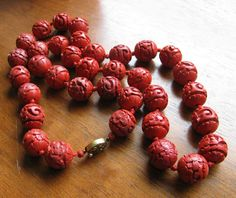 """Vtg Antique Chinese Cinnabar carved bead  28"""" Necklace Filigree clasp Estate"""