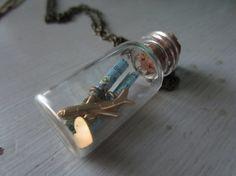 Long Distance Love-Vintage Maps in Mini Glass Bottle