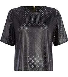 Black laser cut leather-look boxy t-shirt
