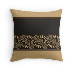 """""""Ornament """"Black and gold"""""""" Throw Pillows by floraaplus 