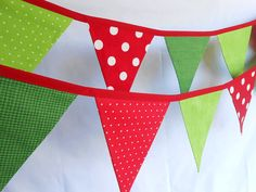 Christmas Banner/ Fabric Holiday Bunting in Red by aLittleFrayed