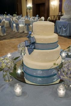 Winter wonderland wedding cake handmade in the pastry kitchen at The American Club.