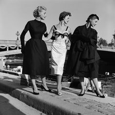 Mark Shaw - Models in Dior at Pont Alexandre lll #2, 1953 | From a unique collection of photography at http://www.1stdibs.com/art/photography/