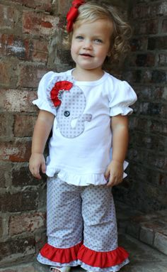 Alabama Game-Day Elephant Applique Shirt and Pants.  Grey polka dot double ruffle pants with solid red ruffle .  Baby, Toddler and Girls. on Etsy, $56.00
