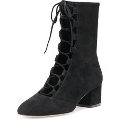 Gianvito Rossi Suede Lace-Up Mid-Calf Boot (1 586 AUD) ❤ liked on Polyvore featuring shoes, boots, black, mid calf lace up boots, mid-calf lace up boots, lace up boots, mid heel boots and suede lace up boots