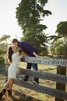 chalk fence outdoor wedding engagement photo ideas